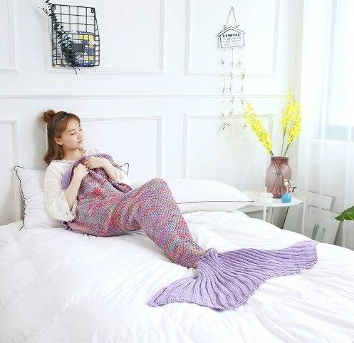 Image 5 - CAMMITEVER Mermaid Tail Blanket Yarn Knitted Handmade Crochet Mermaid Blanket Kids Throw Bed Wrap All Seasons Sleeping Knitted-in Blankets from Home & Garden