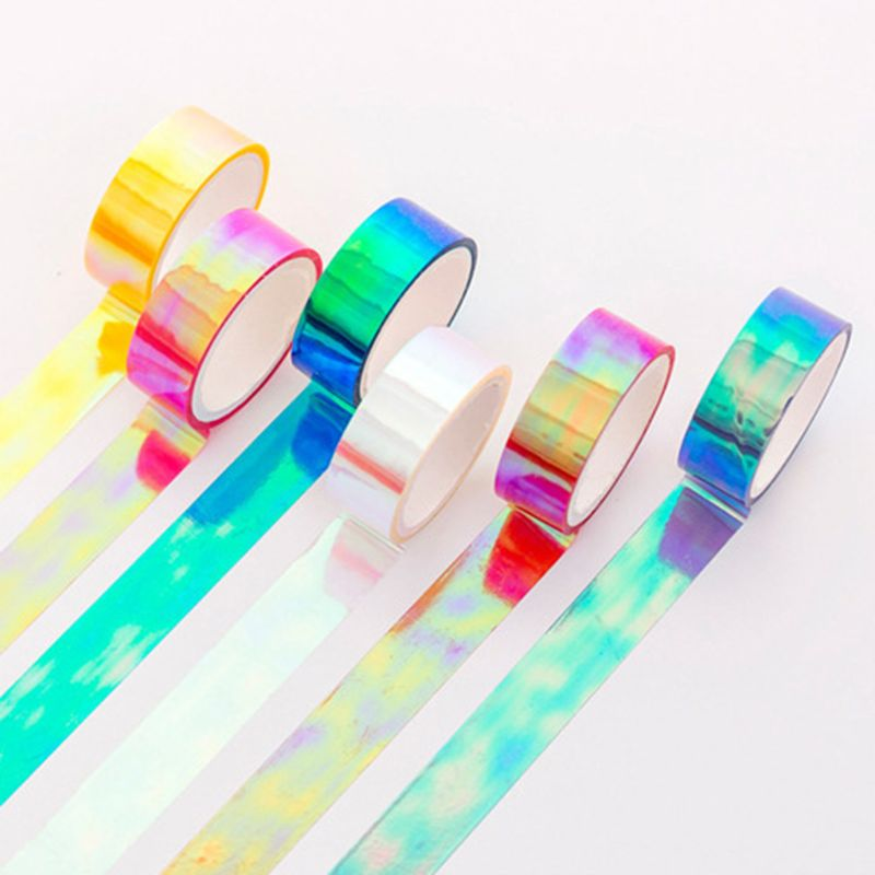 6pcs Glitter Rainbow Laser Washi Tape Decorative Adhesive Masking Tapes DIY School Supplies Stationery