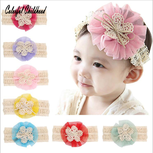 c882e1599747 Princess Baby Girls Hair Accessories Kids Elastic Floral Headband Bowknot  Elastic Infant bands Headwear Flower Lace Hairband