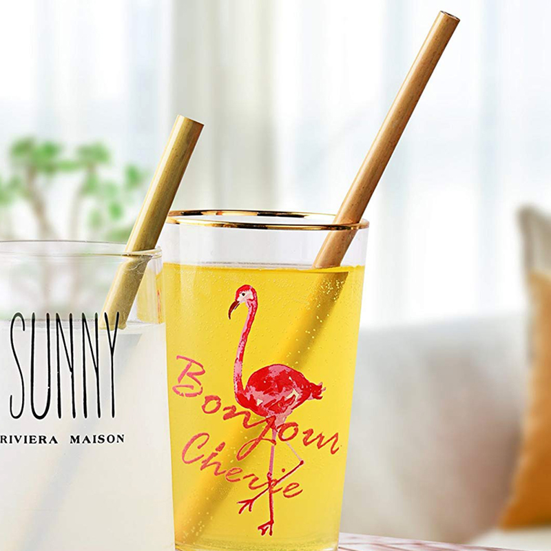 5Pcs Natural Bamboo Straws Organic Reusable Drinking Straw Eco Friendly Cocktail Drink Straw Set With Brush Wedding Party Bar Supply (6)