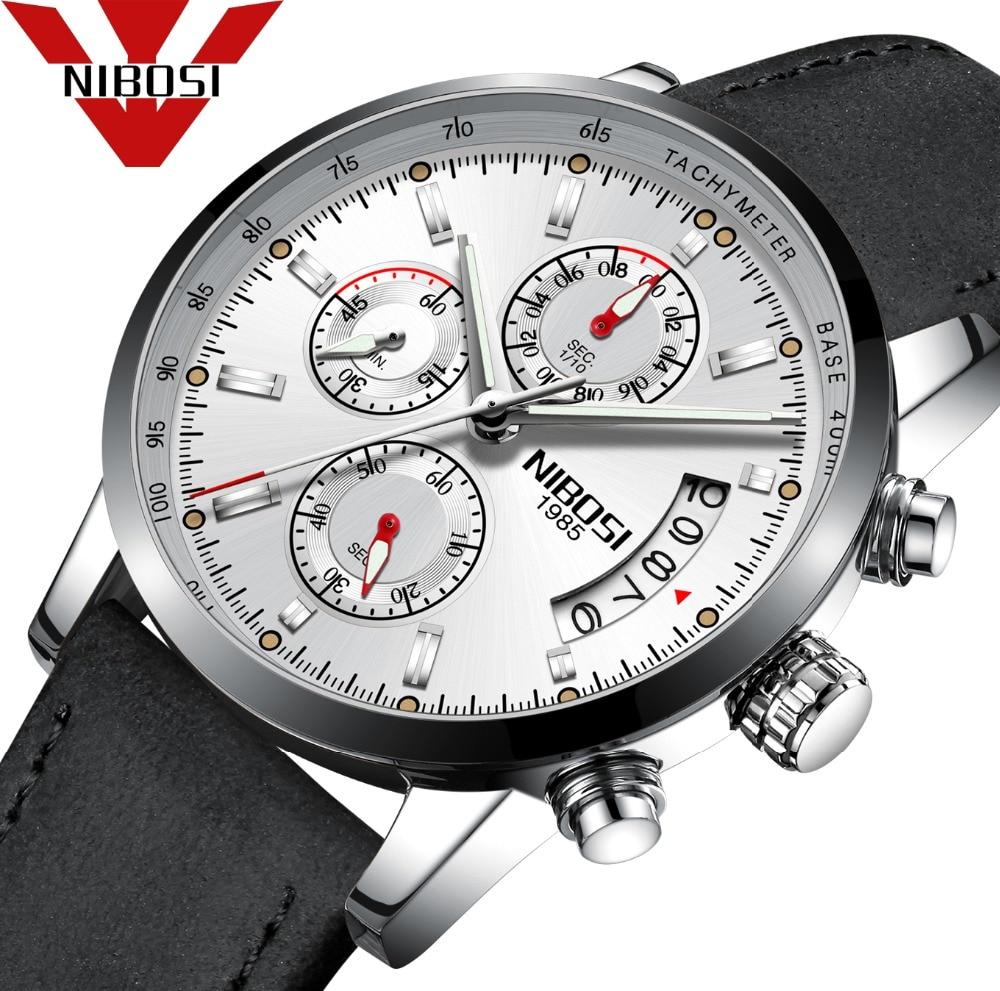 NIBOSI 2018 Fashion Big Dial Military Quartz Men Watch Leather Movement Watch High Quality Watch