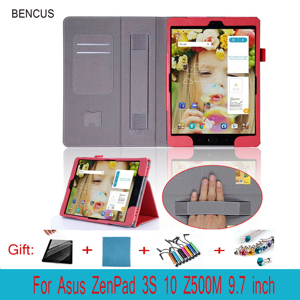 BENCUS For Asus ZenPad 3S 10 Z500M 9.7 Tablet Luxury Leather With Wallet Card Slot Hand Strap Stand Case Cover