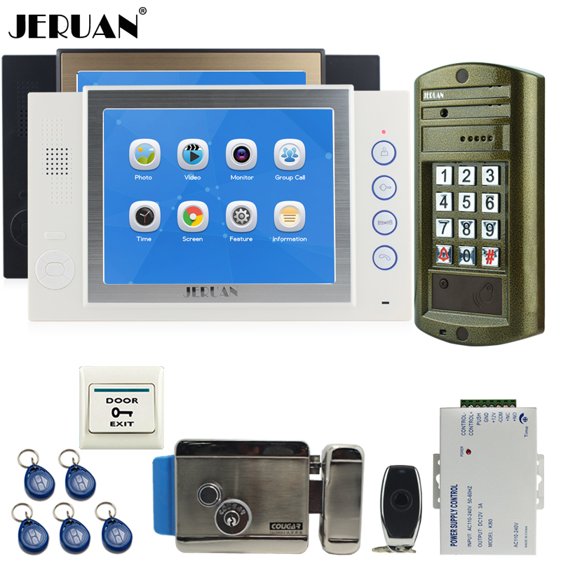 JERUAN 8`` Video Door Phone Record Intercom System kit 2 Monitor +NEW Waterproof Password HD Mini Camera 8 GB +E-lock +Power jeruan 8 inch tft video door phone record intercom system new rfid waterproof touch key password keypad camera 8g sd card e lock