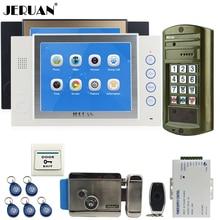 "JERUAN  8"" Video Door Phone Record Intercom System kit 2 Monitor +NEW Waterproof Password HD Mini Camera 8 GB +E-lock +Power"