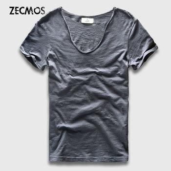 T-Shirt homme coton col V 104
