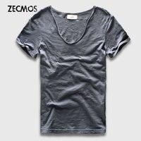 Men Basic T Shirts Solid Cotton V Neck Slim Male Tee Shirts Short Sleeve Scoop Plain