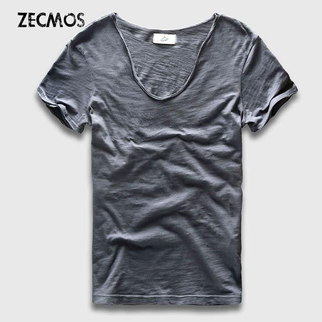 Men Basic T-Shirt Solid Cotton V Neck Slim Fit Male Fashion T Shirts Short Sleeve Top Tees 2017 Brand