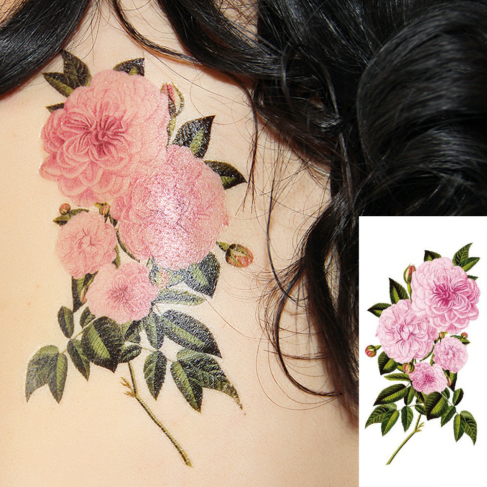 Flash Henna Tattoo Fake Temporary Tattoos Stickers Sexy Romantic Pink Rose Flowers Tattoo Arm Shoulder Tattoo Waterproof Women