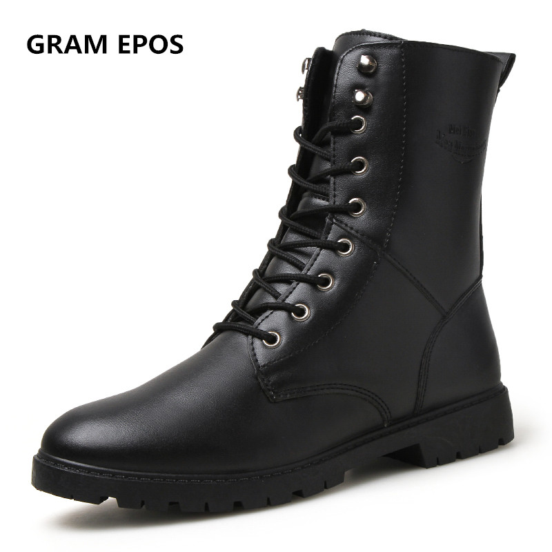 GRAM EPOS 2017 New Men's Winter Boots Men PU Leather Boot Male British Style Retro Martin Boots Man Autumn Warm Motorcycle Shoes