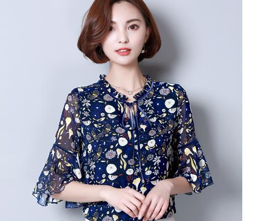 8fb8c07d9f9 TUHAO Fashion FlorL Chiffon Office Lady Shirts Half Ruffles Sleeve Women  Blouses Stand Collar Slim Female Clothing New LWW55