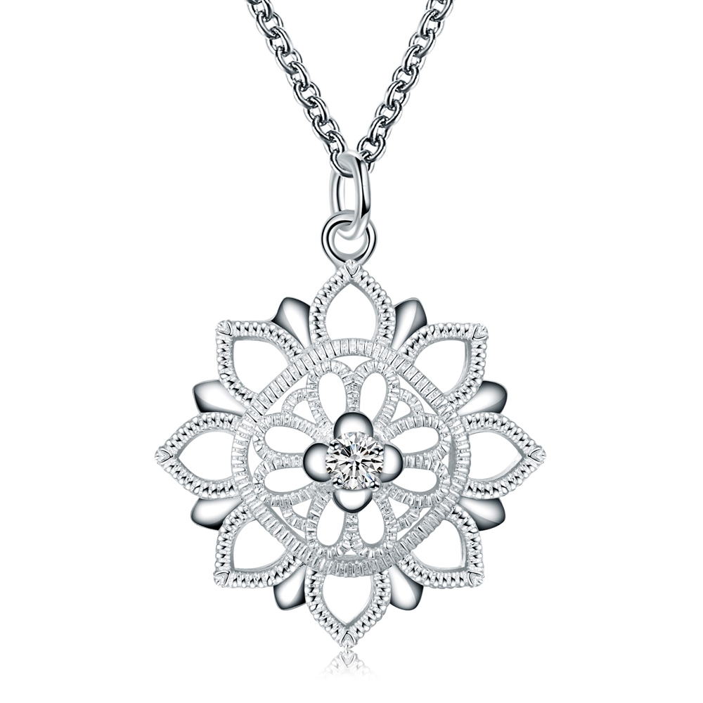 2017 New Top hollow flower round tag pendant stone necklace pendants for women jewerly Silver Plated Stamped 925 necklace chain