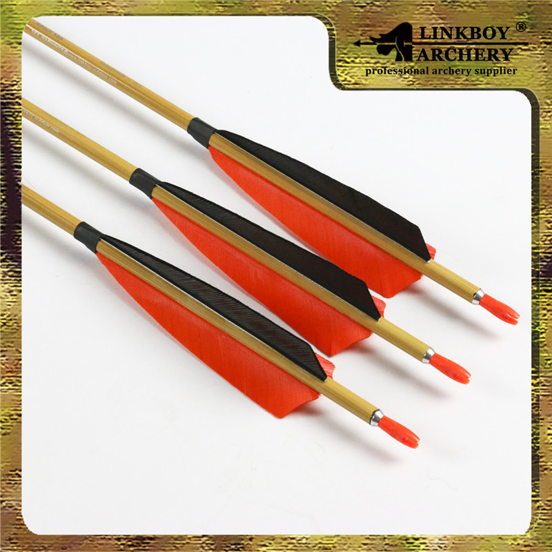 12pcs 32inch SPine 500 Archery pure carbon arrows bamboo skin with arrow pin nock completed for bow hunting shooting 12set spine 500 32inch linkboy archery carbon arrow shafts 12pcs point 36pcs vane 12pcs pin nock for diy bow hunting