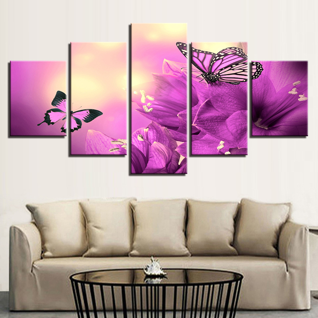 Modern Canvas Painting Decor Pictures 5 Pieces Beautiful Purple ...