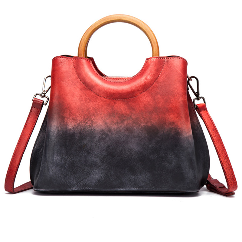 Women Top Handle Messenger Shoulder Bag Panelled Handbag Luxury Retro Trends Female Genuine Leather Tote Purse Cross Body Bags-in Top-Handle Bags from Luggage & Bags    1