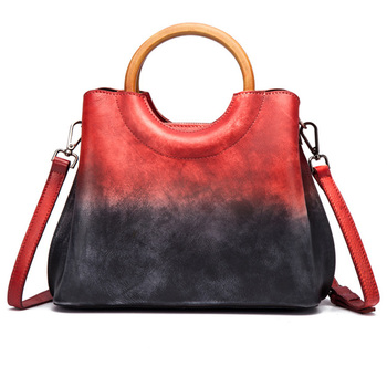 Women Top Handle Messenger Shoulder Bag Panelled Handbag Luxury Retro Trends Female Genuine Leather Tote Purse Cross Body Bags