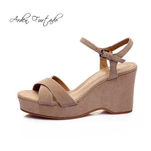 3c32b703f6eb Arden Furtado 2018 new summer platform wedges ladies casual high heels 12cm  sandals nude black suede shoes open toe buckle strap