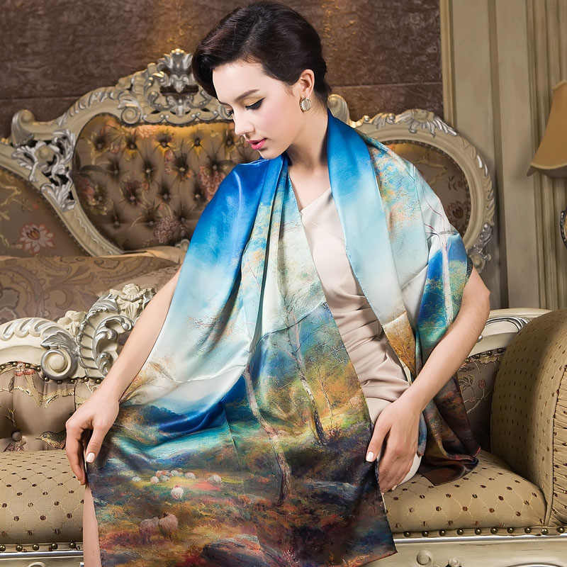2015 Blue Mulberry Silk Long Silk Scarf Shawl Printed Female Spring Autumn Silk Scarves All-match Top Grade Winter Long Scarf