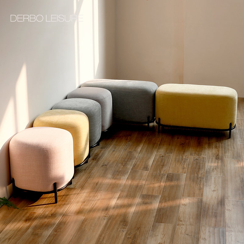 US $199.0 |Modern Nice Design Fashion Luxury Fabric Soft Cover Upholstered  Living Room Sofa Side shoes changing Low Stool Bench ottoman 1PC-in Stools  ...