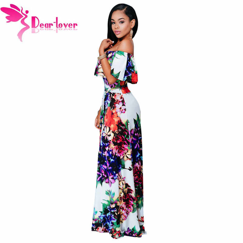 afc6c6a8659 Dear Lover Summer Dresses Party Gowns Sexy Womens Multi-color Floral Print  Off-the-shoulder Maxi Dress Vestidos Largo LC61263