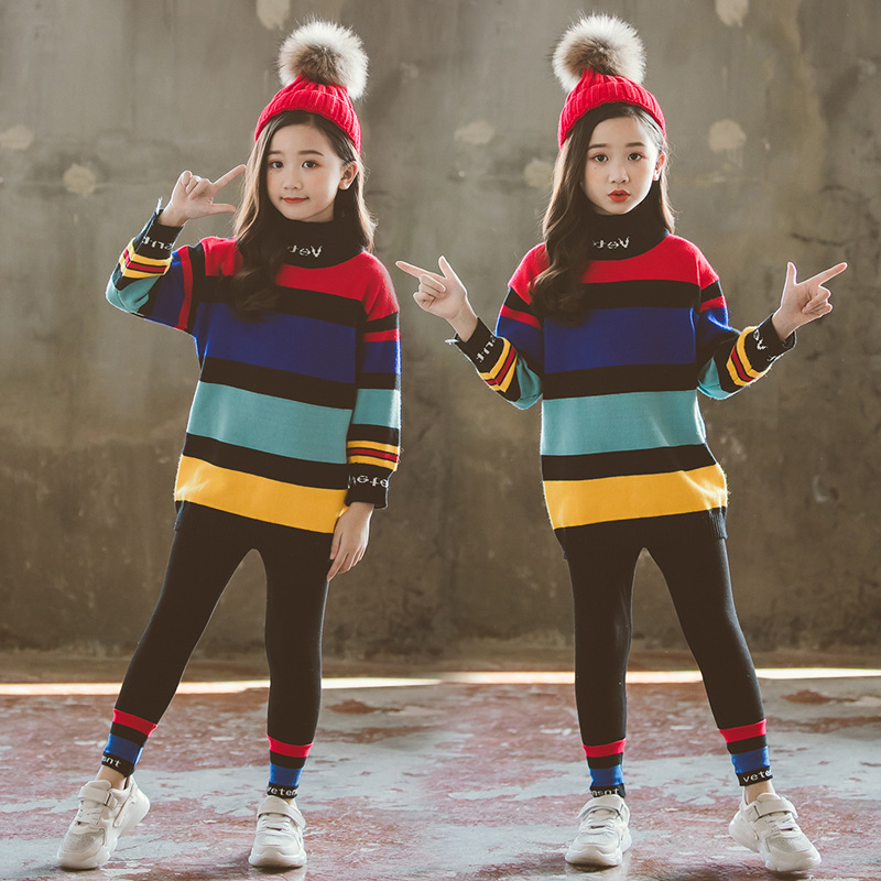 все цены на Autumn New Design Hot Sale Girls Sweater High Neck Knitted Pullover Cardigan for Baby Girls Children Clothes Kids Top CA450