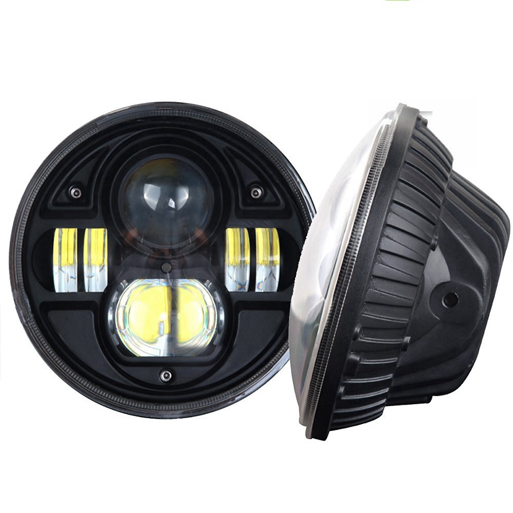 2PCS 7 INCH 45W LED Headlight 5800LM H4 High Low Beam Harley Driving Lights For Jeep Wrangler JK TJ LJ Hummer Truck 1pcs 7 80w headlamp led headlight with drl for jeep wrangler jk tj fj harley off road lights high low beam new free shipping