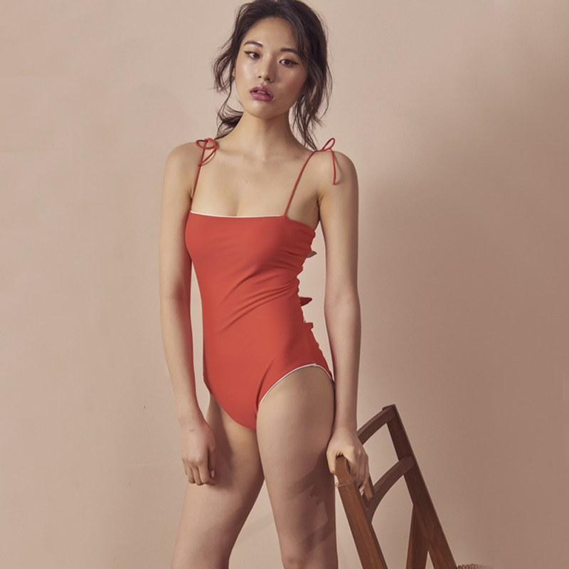 Backless Sexy Bow Triangle Bodysuit For Women 2019 Summer Hot Sale Airy Fashion Padded Wire Free Solid Color Jumpsuit