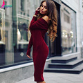 Goodbuy 2016 Fashion Office Dresses Strapless Off Shoulder Long Sleeve Autumn Dress Party Dress Sexy Bodycon Robes Vestidos