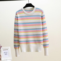 Spring 2019 New Fashion Women Sweaters Full Sleeve Retro Sweater Rainbow Striped Pullover Knitted Female Outwear