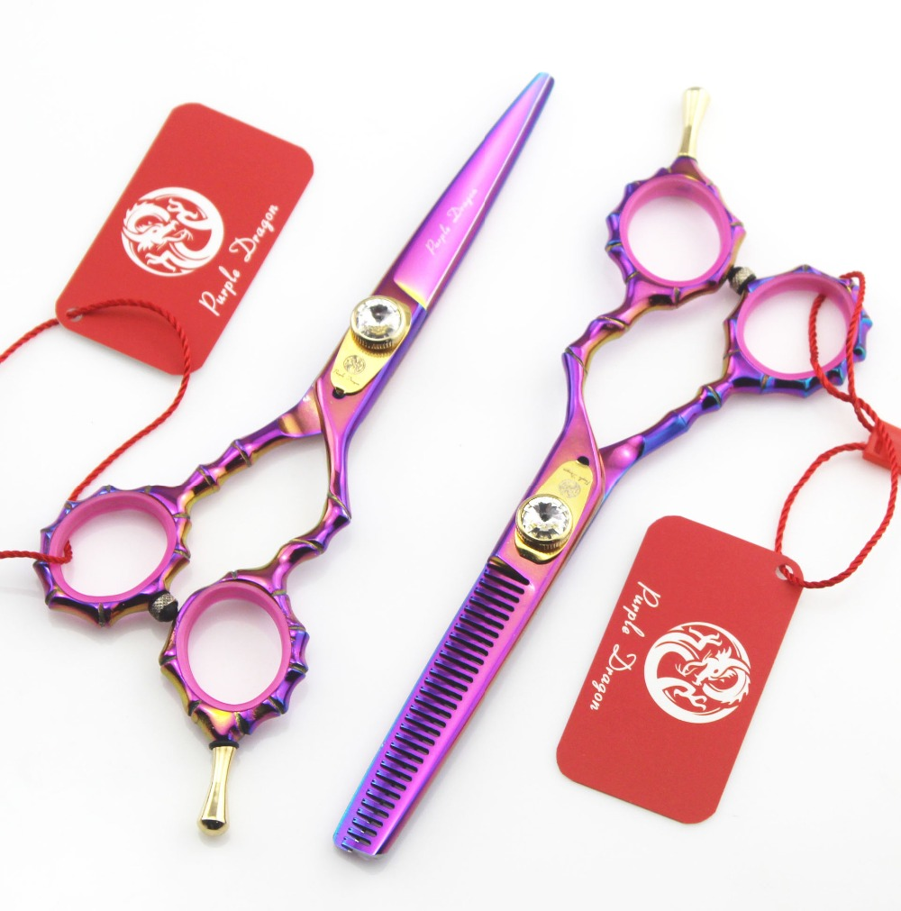 Purple Dragon Colorful Hair Scissors 440C 5.5 inch Bamboo Handle Professional Barber Hairdressing Scissors Thinning Shears VH085 scissors 6 inch professional hair cutting scissors hairdressing salon barber shears dragon shaped handle