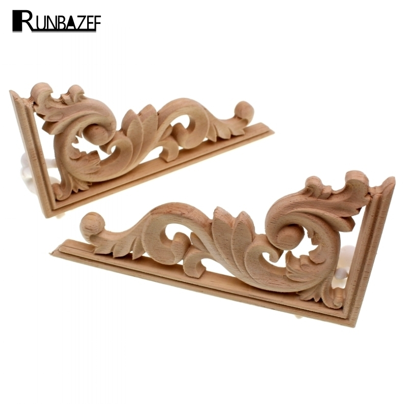 RUNBAZEF Solid Wood Applique Carved Floral Long Flower Furniture Decorative Accessories Home Decoration Accessories Artesanato