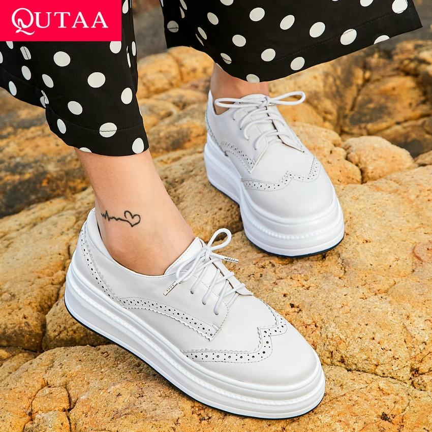QUTAA 2019 Women Shoes Platform Women Pumps Lace Up Cow Leather pu Round Toe Wedges Heel