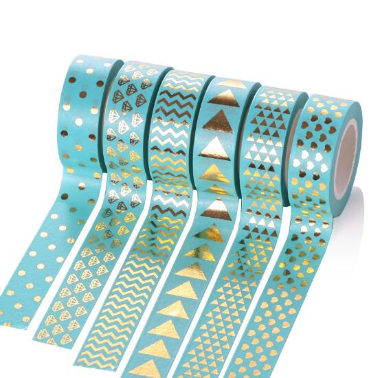 2017 new dot triangle heart shape foil washi tape 15mm 10m kawaii fita adesiva decorativa for