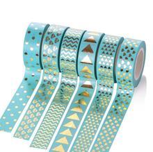 Dot Triangle Heart Diamond Green Foil Washi Tape 15MM*10M Kawaii Fita Adesiva Decorativa For Gift Packing Wedding