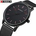 Мода Топ Luxury brand CURREN Часы мужчины Сетка Из Нержавеющей Стали ремешок Кварцевые часы Ультра Тонкий Циферблат Часы мужчины relogio masculino