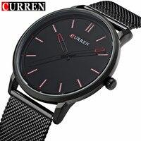 Fashion Top Luxury Brand CURREN Watches Men Stainless Steel Mesh Strap Quartz Watch Ultra Thin Dial