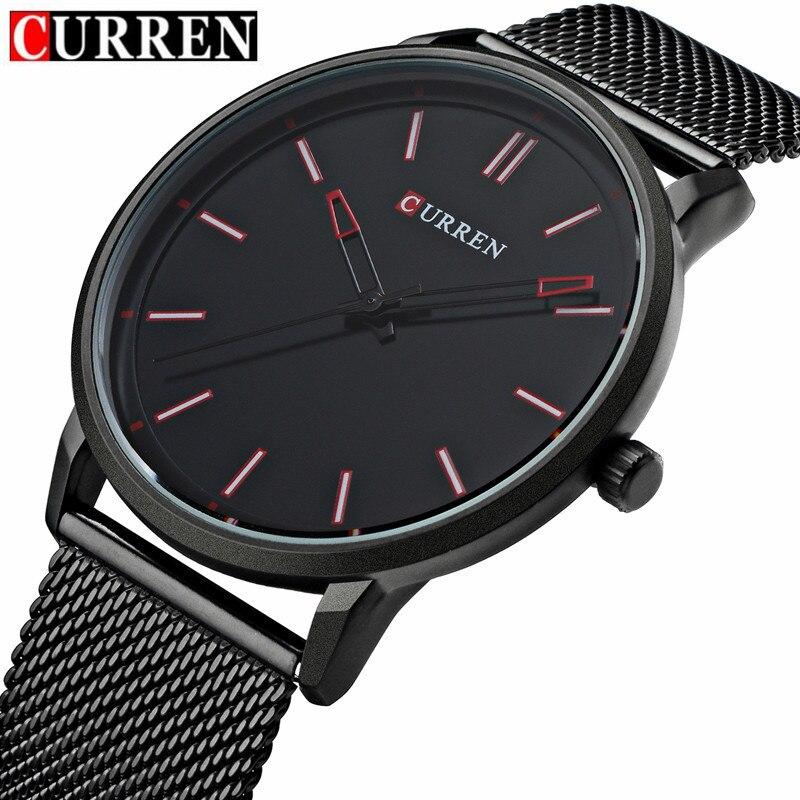 5ce1398b217 Top Fashion Black Watch CURREN Brand Watches Men Stainless Steel Mesh Strap Quartz  Watch Thin Dial