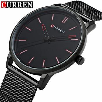 Top Fashion Zwart Horloge CURREN Merk Horloges Mannen Roestvrij Stalen Mesh Band Quartz Horloge Dunne Dial Wrist Klok relogio masculino