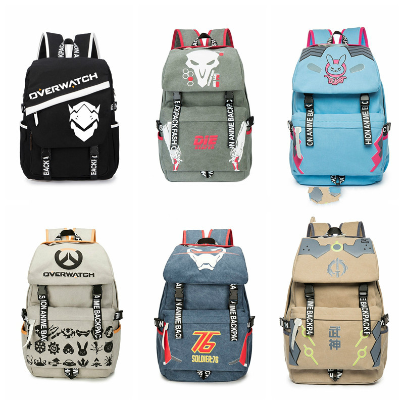 Men Male Canvas Overwatchs Backpack Student School Laptop Backpack Travel Bags for Teena ...
