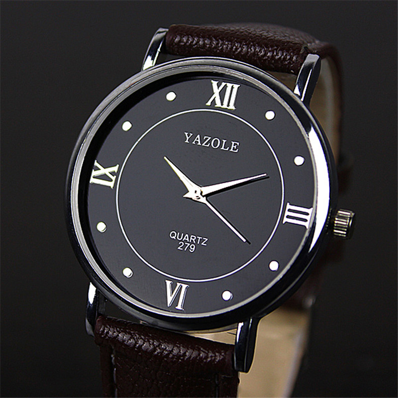 Yazole Fashion Business Classic Simple Men Watches Leather Strap Quartz Wrist Watch Relogio Masculino 279