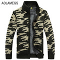 Aolamegs Mens Camouflage Sweater Jacket Autumn Winter Thick Warm Fleecing Sweater Cardigan Military Style Knitting Sweter Hombre