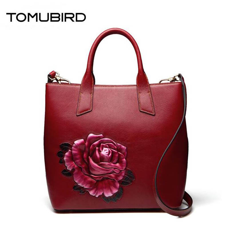 TOMUBIRD 2018 new superior Cowhide Hand Fashion leather art bag luxury women bags designer women bag genuine leather handbags 2018 new superior cowhide leather classic designer hand embossing top leather tote women handbags genuine leather bag medium bag
