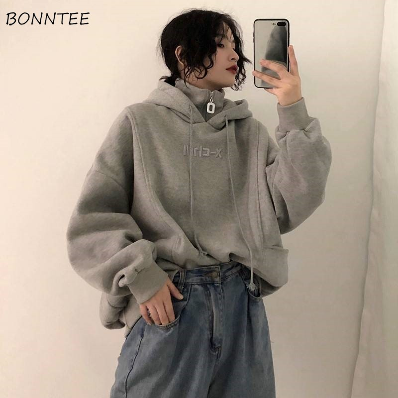 Hoodies Women Autumn Winter Trendy Korean Style Simple Casual Ulzzang High Quality Streetwear Soft Loose Solid Womens Clothing