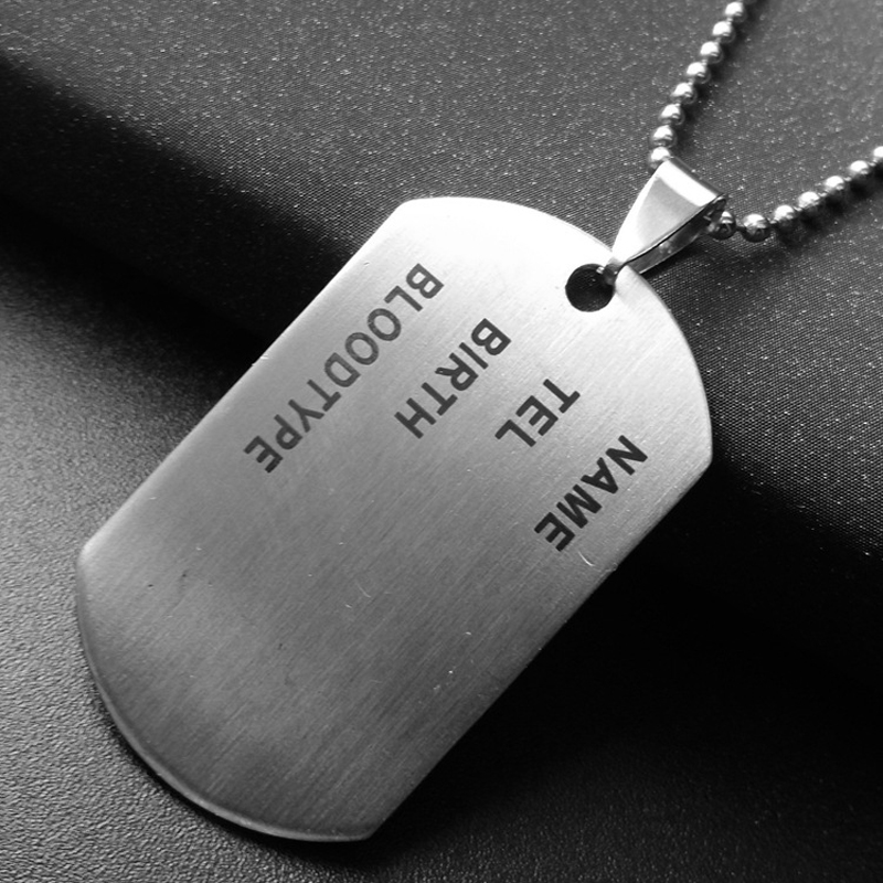 1pc Military Army ID Tag Badge Name Pet Dog Tags Pendant Man Silver Color Stainless Steel Chain Necklace Charm Men Jewelry Gifts