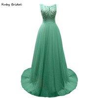 L Ivresse 2017 New Long A Line Green Tulle Beaded Evening Dresses Sexy Elegant V Back