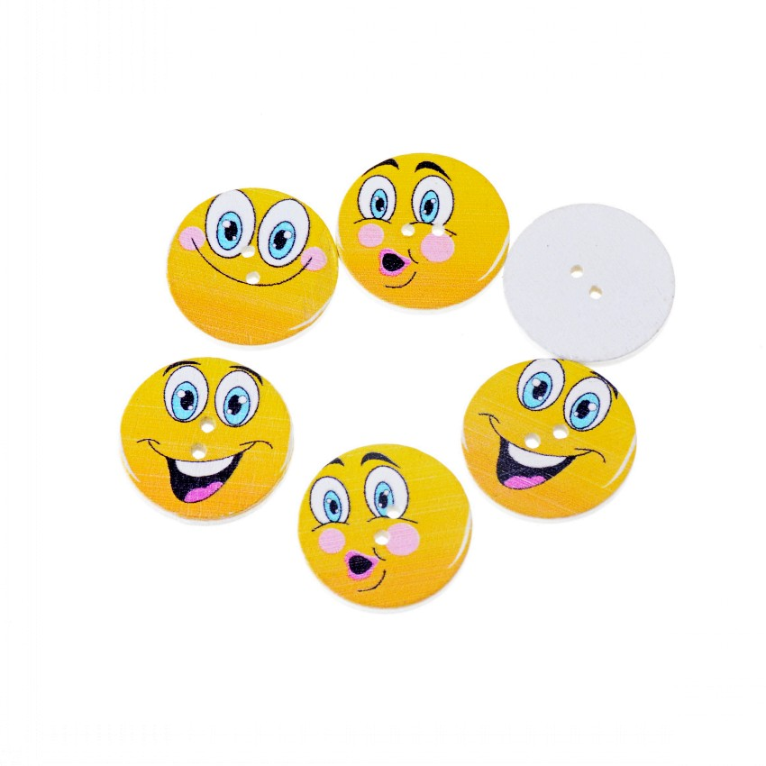 Free shipping 50PCS Random Mixed Yellow Smiling face expression Wood Buttons 2 Holes Round Shape Sewing Scrapbooking 25mm