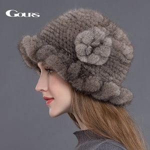 Image 3 - Gours Pelz Hüte für Frauen Gestrickte Natürliche Nerz Fedoras Dicke Warme In Winter Beanies Caps Fashion mit Floral Neue ankunft