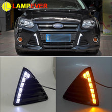 2 PCS Gloss Model 12v LED Car DRL daytime running light Bumper Front Fog lamp with dimming style for Ford Focus 3 2012 2013 2014(China)