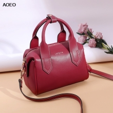 AOEO Luxury Handbags Women Split Leather Big Capacity New Fashion Girls Crossbody Bag Red Black Casual Lady Shoulder Bags