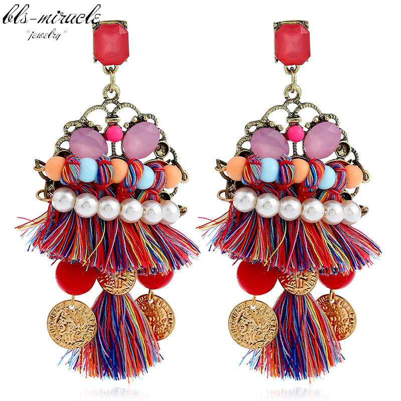 bls-miracle fashion jewelry accessories Bohemia colorful tassel style pearl beads dangle drop earring best femme gift E463