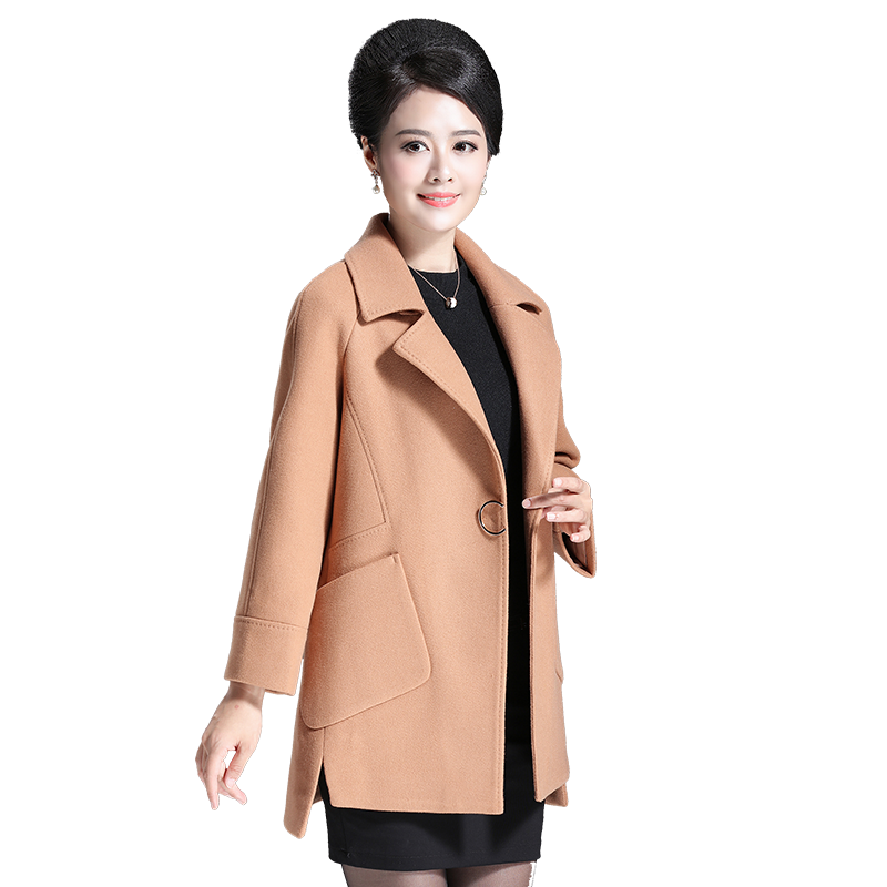 Mum woolen coat middle-aged women in autumn and winter 2018 wool fleece coat new middle-aged and autumn autumn and winter coat for women a new autumn winter coat for women